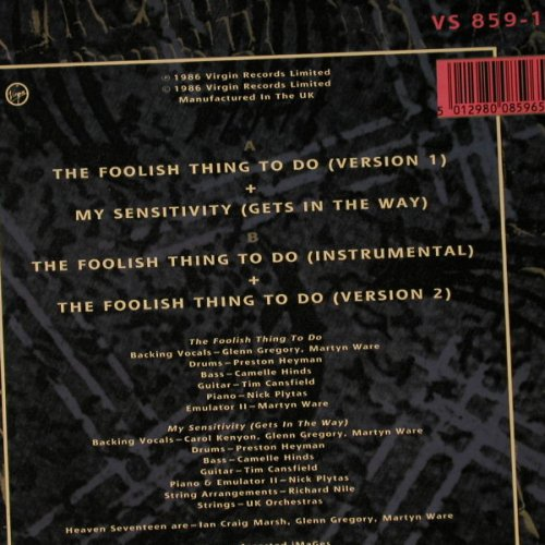 Heaven 17 feat.J.Ruffin: The Foolish Thing To Do*3+1, Virgin(VS 859-12), UK, 1986 - 12inch - C7813 - 3,00 Euro