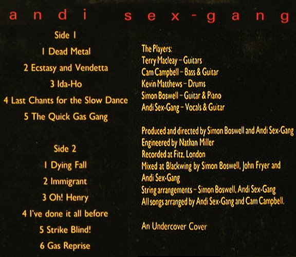 Andi Sex-Gang: Blind!, ILLuminated(JAMS 48), UK, 1985 - LP - E308 - 5,50 Euro