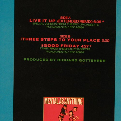 Mental As Anything: Live It Up(ex) +2, Epic(650319 6), NL, 1984 - 12inch - E4654 - 2,50 Euro