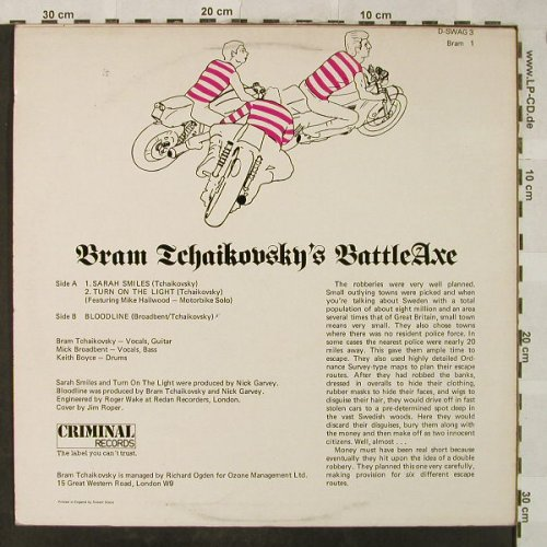 Bram Tchaikovsky: Sarah Smiles/Turn on the Lights/Blo, Criminal(BRAM 1)(D-SWAG 3), UK,vg+/vg+, 1978 - 12inch - H5251 - 5,00 Euro