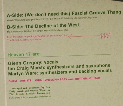 Heaven 17: [we don't need this]Fascist GrooveT, B.E.F. Virgin(VS 400-12), UK, 1981 - 12inch - H751 - 5,00 Euro