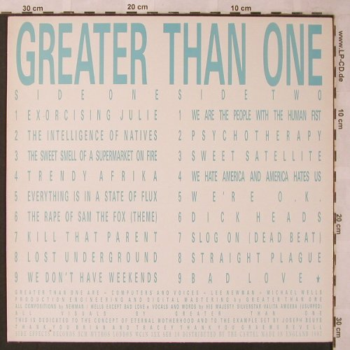 Greater Than One: All the Masters Licked Me, VG+/m-, Side Effects Record(SER 10), UK, 1987 - LP - X2661 - 7,50 Euro