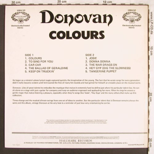 Donovan: Colours, Hallmark(HMA 241), UK, Ri, 1965 - LP - X3804 - 6,00 Euro