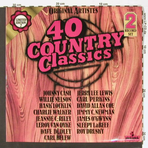 V.A.40 Country Classics: Lim Ed. 2, Foc, Pickwick(PLD 8011), UK,  - 2LP - C60 - 5,00 Euro