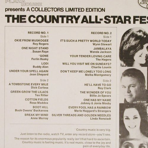 V.A.The Country All-Star Festival: Roy Rogers...Linda Ronstad, 20 Tr., Capitol(SLB-6721), US,  - 2LP - E4236 - 7,50 Euro
