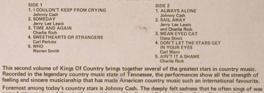 V.A.Kings Of Country: Vol.2 - Johnny Cash...Charlie Rich, Hallmark(SHM 864), UK, 1971 - LP - E7187 - 5,00 Euro
