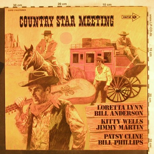 V.A.Country Star Meeting: Loretta Lynn...Bill Phillips, Foc, Coral,Promo-Stol(COPS 1749), D,vg+/m-,  - LP - H7502 - 5,00 Euro