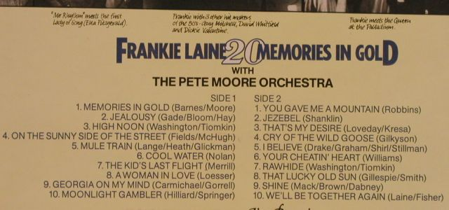 Laine,Frankie: 20 Memories In Gold, Polydor(2383 457), UK, 1977 - LP - H9633 - 4,00 Euro