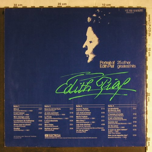 Piaf,Edith: Portrait Of-25 Of Her Greatest Hits, EMI Columbia(C 152-12676/77), D, Foc,  - 2LP - H9046 - 7,50 Euro