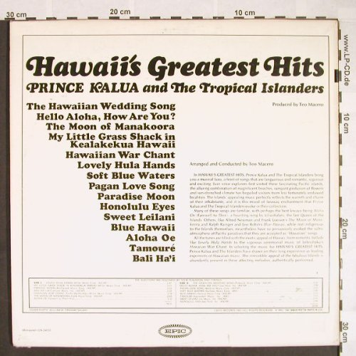 Prince Kalua & t. Tropical Islandes: Hawaii's Greatest Hits, m-/vg+, Epic(LN 24055), US, Mono,  - LP - F9658 - 6,00 Euro