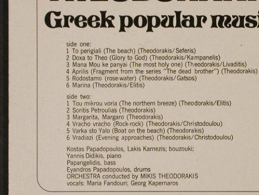 Theodorakis,Mikis: Greek Popular Music, 2001/Metronome(200.171), D, Ri, 1974 - LP - H2517 - 5,00 Euro