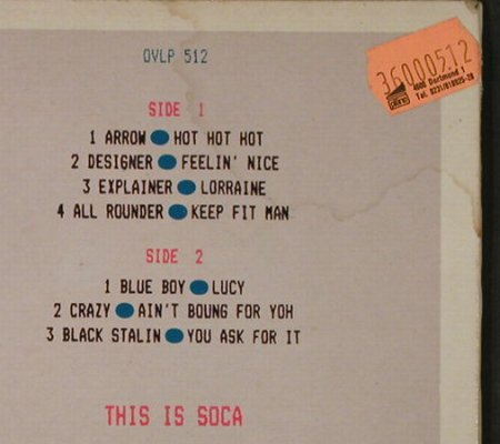 V.A.This Is Soca ! 84: Arrow...Black Stalin, m-/vg+, London(DVLP 512), UK, 1984 - LP - H4245 - 5,00 Euro
