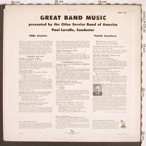 Lavalle,Paul & CitiesServiceB.o.Am: Great Band Music, RCA Victor(LPM-1133), US,  - LP - X3717 - 7,50 Euro