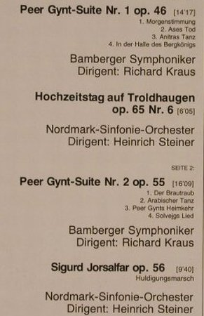 Grieg,Edvard: Peer Gynt Suiten 1&2/Sigurd Jorsalf, D.Gr. Resonance(2535 177), D, Ri, 1976 - LP - K7268 - 5,00 Euro