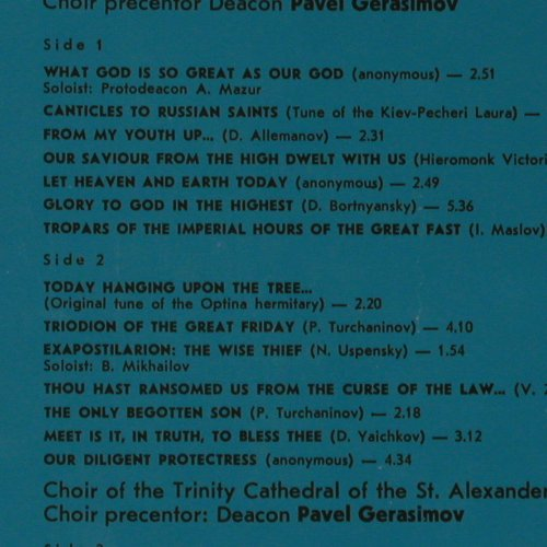 Clergy Choir of Leningrad Metropoli: Selected Church Hymns, Foc, MEAOANR(C10 09909 008), UDSSR, 1983 - 2LP - K7461 - 6,00 Euro