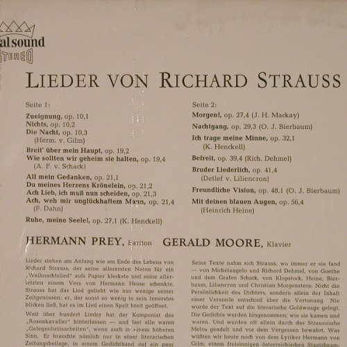 Prey,Hermann: Lieder von Richard Strauss, FS-New, Decca(SXL 21 083-B), D,  - LP - K7829 - 9,00 Euro