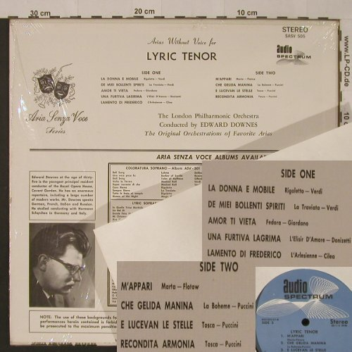 V.A.Arias Senza Voce: Lyric Tenor, 9 Tr., Audio Sprectrum(SASV 505), US,  - LP - K7957 - 9,00 Euro