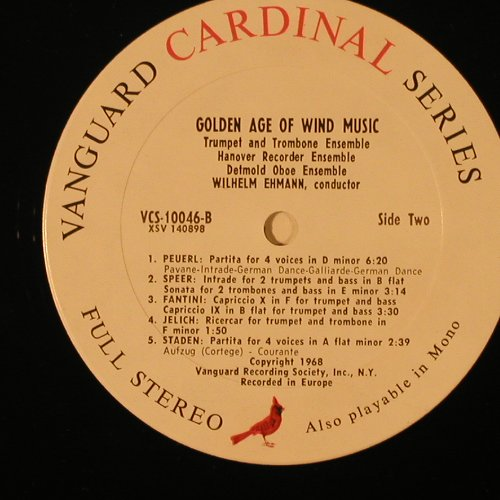V.A.The Golden Age Of Wind Music: 9 Tr., Vanguard/Cardinal(VCS-10046), US, 1968 - LP - K8608 - 7,50 Euro