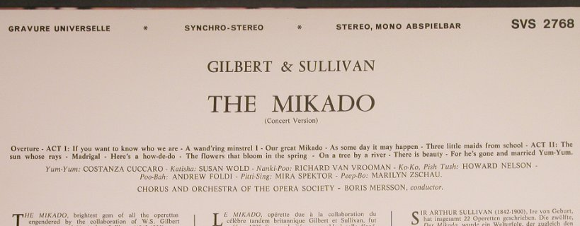 Gilbert & Sullivan: The Mikado, Concert Version, Concert Hall(SVS 2768), ,  - LP - K8923 - 6,00 Euro