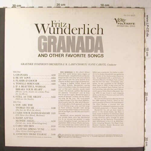 Wunderlich,Fritz: Granada and other Favorite Songs, Verve Folkways(FV-9023), US, co,  - LP - K9199 - 6,00 Euro