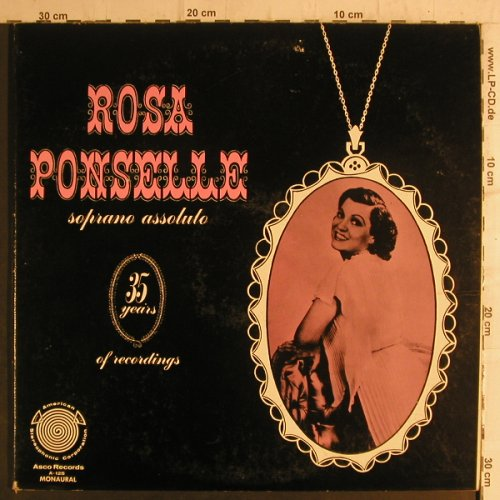Ponselle,Rosa: Soprano Assoluto, Foc, playable, Asco Record(A-125), US,vg+/vg+,  - 2LP - K9259 - 6,00 Euro