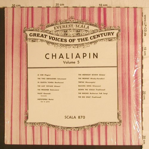 Chaliapine,Feodor: Great Voices of the Century, Vol.5, Everest/Scala(870), US,  - LP - K9418 - 7,50 Euro