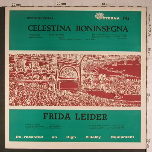 Boninsegna,Celestina / Frida Leider: Immortal Voices,Operatic Recital, Eterna(745), US,  - LP - K9435 - 7,50 Euro