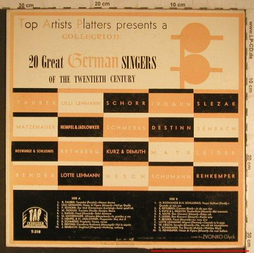V.A.20 Great German Singers: of the 20th Century, vg+/vg+, TAP(T-318), ,  - LP - K9473 - 4,00 Euro