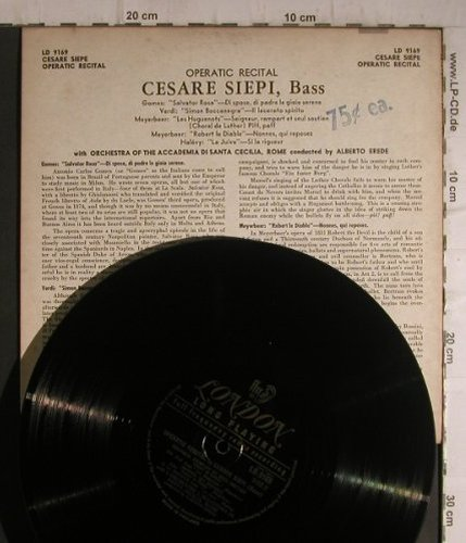 Siepi,Cesare: Operatic Recital by, London(LD 9169), US,  - 10inch - K9567 - 4,00 Euro