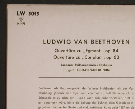 Beethoven,Ludwig van: Leonore/Weihe des Hauses Ouvertüren, Decca(LW 5016), D,  - 10inch - L1114 - 12,50 Euro