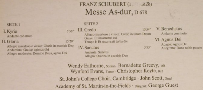 Schubert,Franz: Messe AS-Dur, D.678, m-/vg+, Decca(6.42275), D, 1977 - LP - L1207 - 5,00 Euro