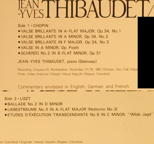 Thibaudet,Jean-Yves: Valse Brillante, Chopin, Liszt, Denon(OF-7027-ND), J, 1982 - LP - L2194 - 7,50 Euro
