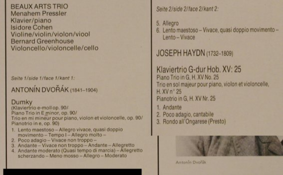 Beaux Arts Trio: Dvorak:DumkyTrio/Haydn:All Ongarese, Philips(6833 231), NL,Ri,Foc,  - LP - L2529 - 5,00 Euro