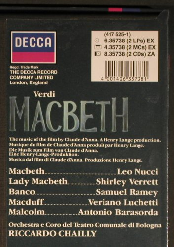 Verdi,Giuseppe: Macbeth, Box, CD-Booklet, Decca(6.35738 EX), D, 1987 - 3LP - L3493 - 12,50 Euro