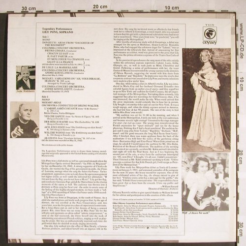 Pons,Lily: Ariasfrom Daughter of the Regiment, Odyssey(Y 31152), US,Mono, 1972 - LP - L3812 - 7,50 Euro