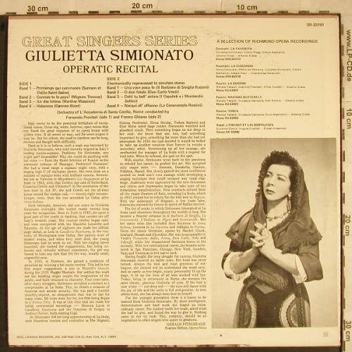 Simionato,Giulietta: Operatic Recital, m-/vg+, Richmond(SR-33191), UK,Ri, 1972 - LP - L4144 - 7,50 Euro