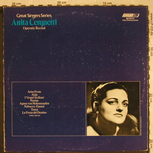 Cerquetti,Anita: Operatic Recital,Great Singers Seri, London ffrr(SR-33189), US, m-/vg+, 1972 - LP - L4148 - 7,50 Euro