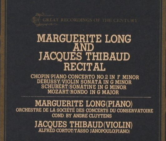Long,Marguerite & Jacques Thibaud: Recital -Chopin, Debussy, Schubert, EMI Angel(GR-2216), J, stoc,  - LP - L4385 - 9,00 Euro