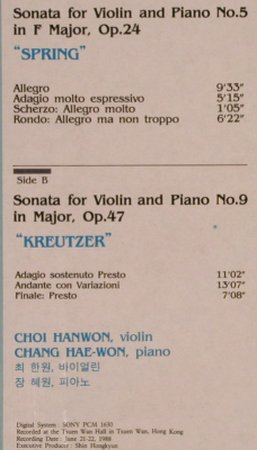 Beethoven,Ludwig van: Sonatas for Violin&Piano,No 5, 9, Cantabile,FS-New(SXCR-009), Korea, 1989 - LP - L4563 - 123,00 Euro