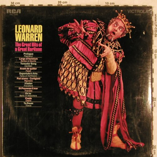 Warren,Leonard: The Great Hits of a Great Baritone, RCA(VIC-1595), US FS-New, 1971 - LP - L4566 - 6,00 Euro