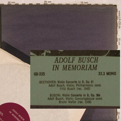 Busch,Adolf: in Memoriam, m /vg+, Recital Records(IGI 335), ,  - LP - L4699 - 12,50 Euro