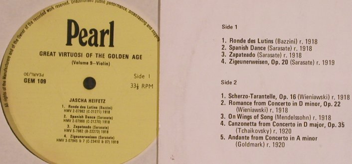Heifetz,Jascha: Great Virtuosi of the Golden Age, Pearl(GEM 109), UK,vg+/vg+,  - LP - L4801 - 6,00 Euro
