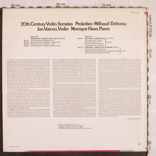 Prokofieff,Serge / Milhaud /Debussy: 20 th Century Violin Sonatas, London ffrr(STS 15175), UK, 1968 - LP - L4976 - 20,00 Euro