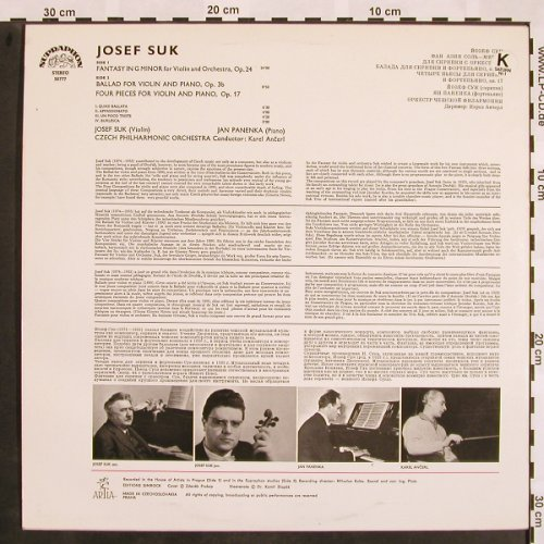 Suk,Josef: Fantasy for violin&Orch., Supraphon(50 777), CZ,  - LP - L5119 - 7,50 Euro