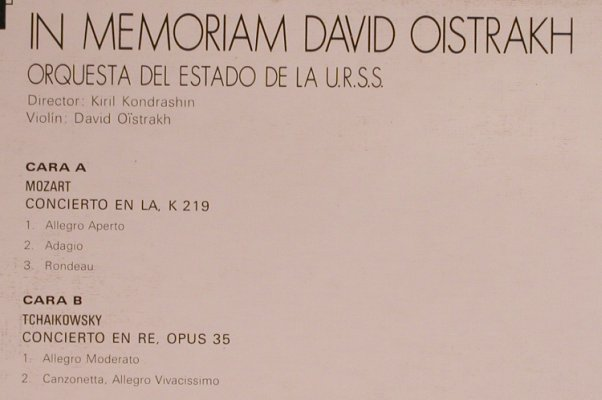 Oistrach,David: In Memoriam,Mozart,Tchaikowsky, Classical Records(LC-4016), E, m-/vg+, 1976 - LP - L5153 - 7,50 Euro
