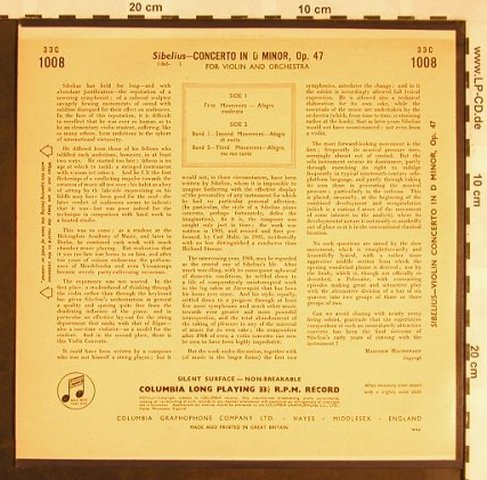 Sibelius,Jean: Violin Concerto in d Minor,op.47, Columbia(33 C 1008), UK,vg+/m-,  - 10inch - L5526 - 6,00 Euro