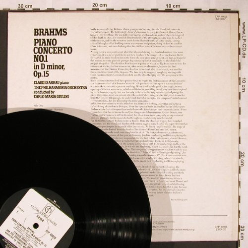 Brahms,Johannes: Piano Concerto No.1, m-/vg+, Classics for Pleasure(CFP 40028), UK,Ri,  - LP - L5972 - 5,00 Euro