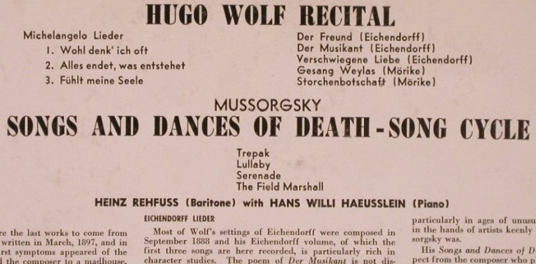 Wolf,Hugo / Moussorgsky: Recital/Song and Dances of Death, London ffrr(LL 1318), US,vg+/m-,  - LP - L6075 - 4,00 Euro