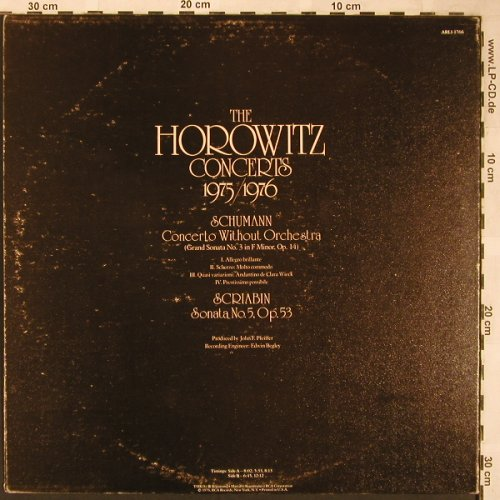 Horowitz,Vladimir: The Horowitz Concerts 1975/1976, RCA Red Seal,Foc(ARL1-1766), US, m-/vg+, 1976 - LP - L6225 - 5,00 Euro