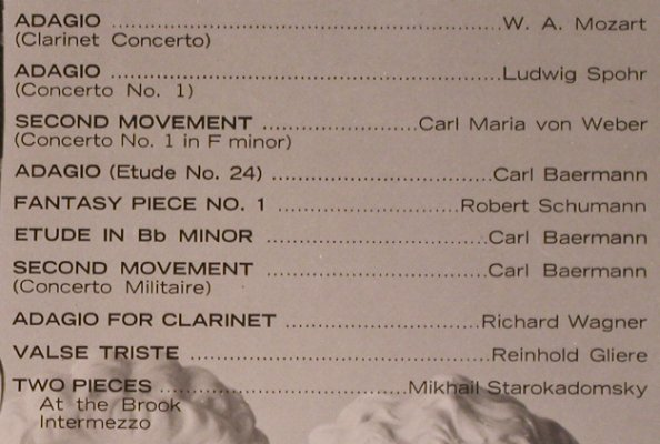 V.A.Solos for the Clarinet Player: piano accompaniments to,Franz Bauer, Music Minus One(116), US,  - 2LP - L6430 - 6,00 Euro
